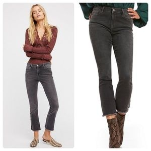 Free People High Rise Distressed Black Jeans